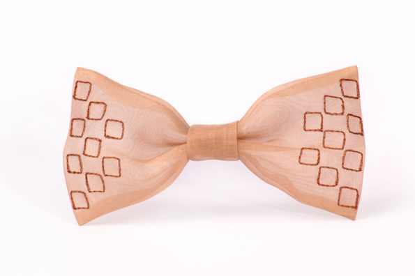 Unique and numbered pieces hand embroidered on fabric. Bow ties